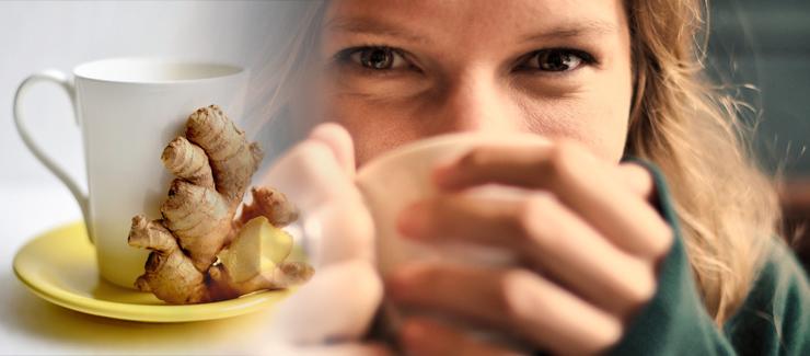 Kopp med ingefärsdryck - ät eller drick ingefära, bra för magen